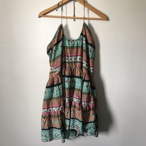 Angie Halter Tunic Top Boho Paisley Sequin L